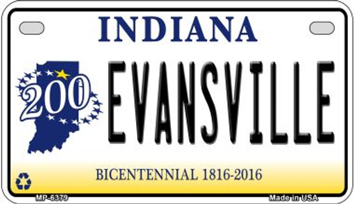 Indiana Evansville Novelty Metal Motorcycle Plate MP-6379