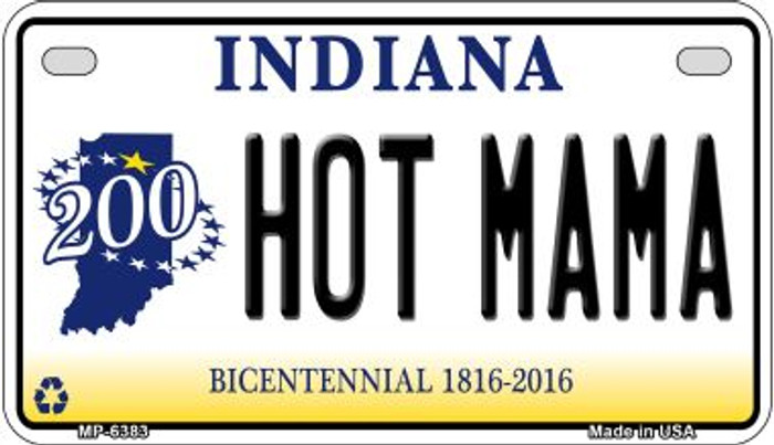 Indiana Hot Mama Novelty Metal Motorcycle Plate MP-6383