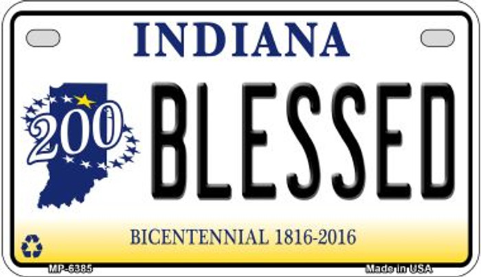 Indiana Blessed Novelty Metal Motorcycle Plate MP-6385