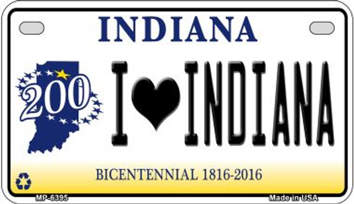 I Love Indiana Novelty Metal Motorcycle Plate MP-6395