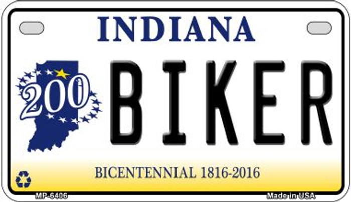 Indiana Biker Novelty Metal Motorcycle Plate MP-6406