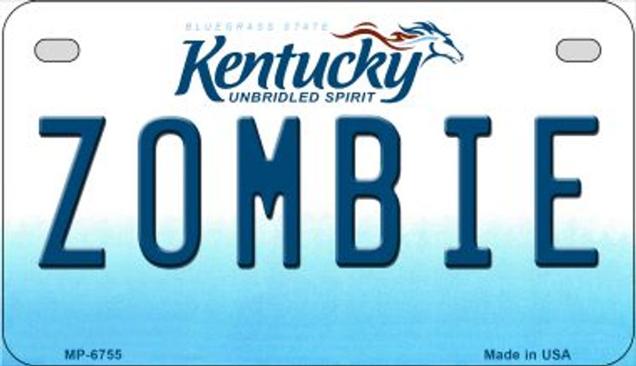 Kentucky Zombie Novelty Metal Motorcycle Plate MP-6755