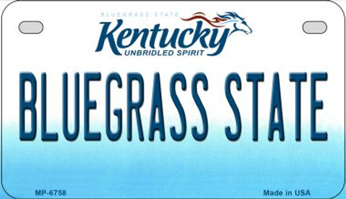 Kentucky Bluegrass State Novelty Metal Motorcycle Plate MP-6758
