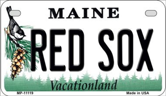 Maine Red Sox Novelty Metal Motorcycle Plate MP-11119