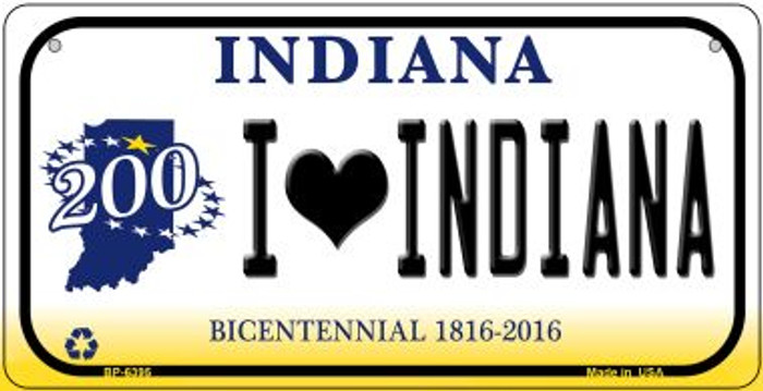 I Love Indiana Novelty Metal Bicycle Plate BP-6395
