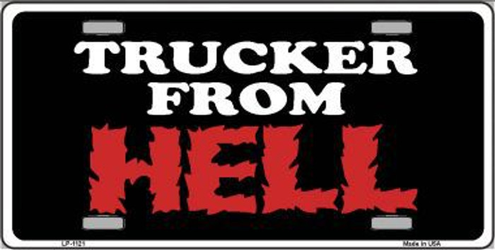 Trucker From Hell Novelty Metal License Plate