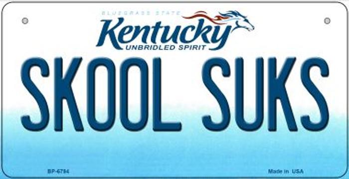 Kentucky Skool Suks Novelty Metal Bicycle Plate BP-6794