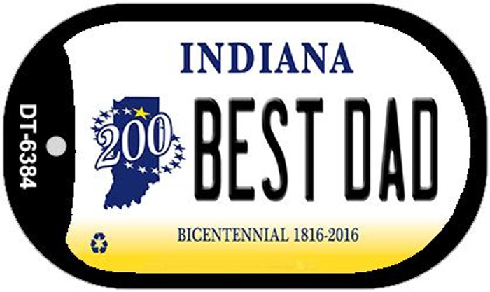 Indiana Best Dad Novelty Metal Dog Tag Necklace DT-6384