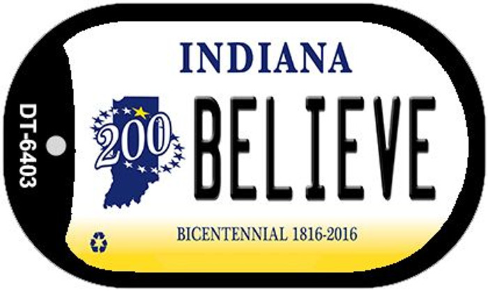 Indiana Believe Novelty Metal Dog Tag Necklace DT-6403