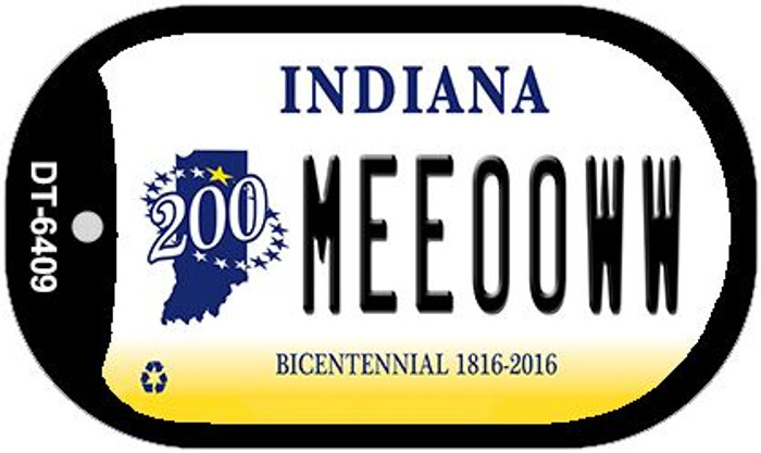 Indiana Meeooww Novelty Metal Dog Tag Necklace DT-6409