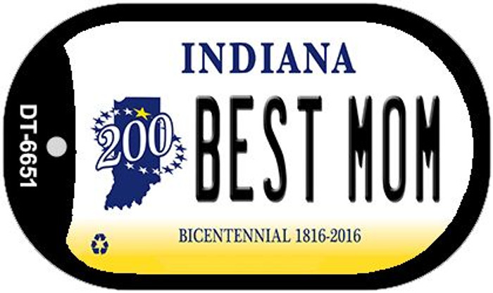 Indiana Best Mom Novelty Metal Dog Tag Necklace DT-6651