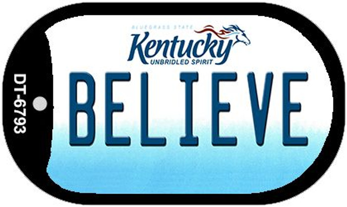 Kentucky Believe Novelty Metal Dog Tag Necklace DT-6793