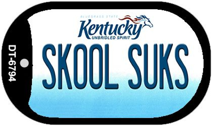 Kentucky Skool Suks Novelty Metal Dog Tag Necklace DT-6794