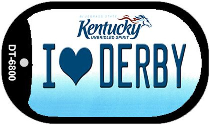Kentucky I Love Derby Novelty Metal Dog Tag Necklace DT-6800