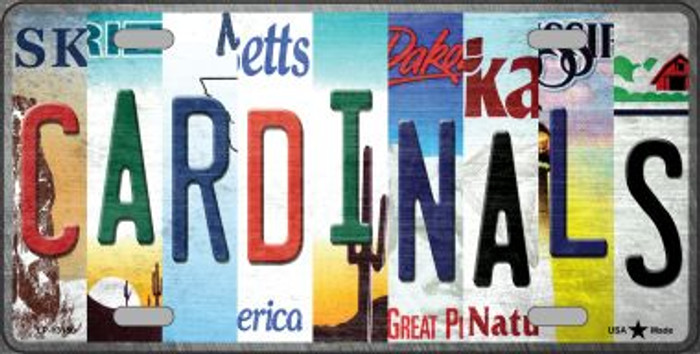 Cardinals Strip Art Novelty Metal License Plate Tag LP-13150