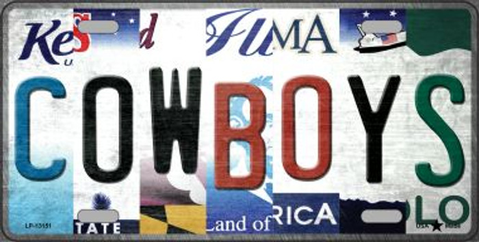 Cowboys Strip Art Novelty Metal License Plate Tag LP-13151