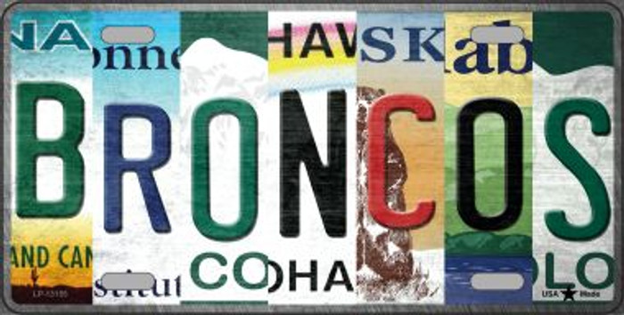 Broncos Strip Art Novelty Metal License Plate Tag LP-13155