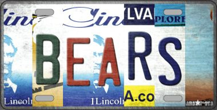 Bears Strip Art Novelty Metal License Plate Tag LP-13163