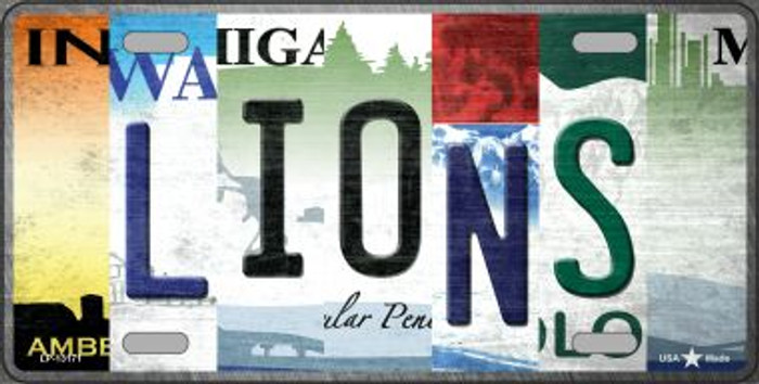 Lions Strip Art Novelty Metal License Plate Tag LP-13171