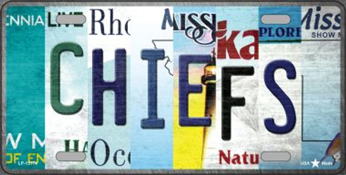Chiefs Strip Art Novelty Metal License Plate Tag LP-13174