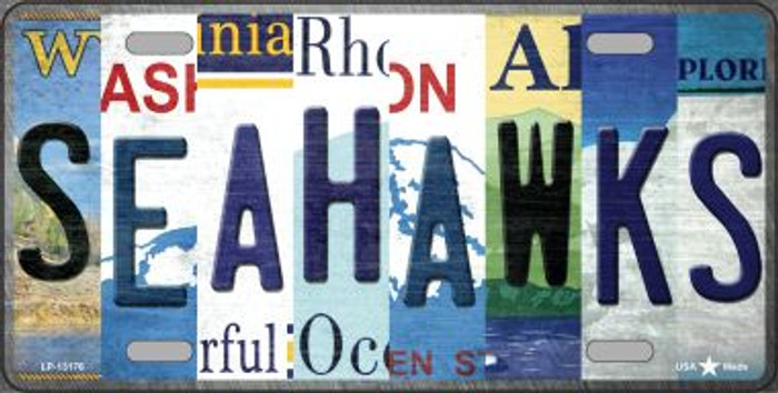 Seahawks Strip Art Novelty Metal License Plate Tag LP-13176