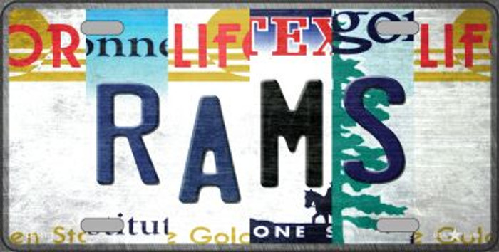 Rams Strip Art Novelty Metal License Plate Tag LP-13177