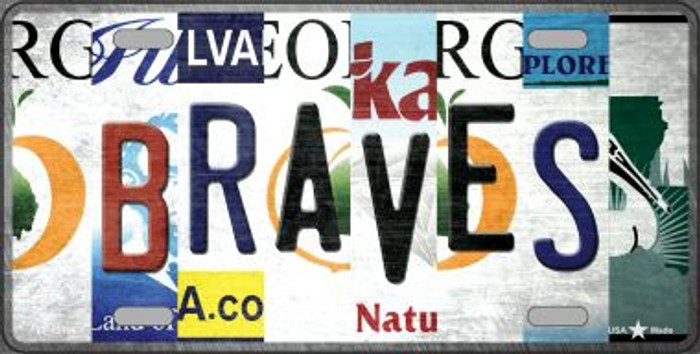 Braves Strip Art Novelty Metal License Plate Tag LP-13184