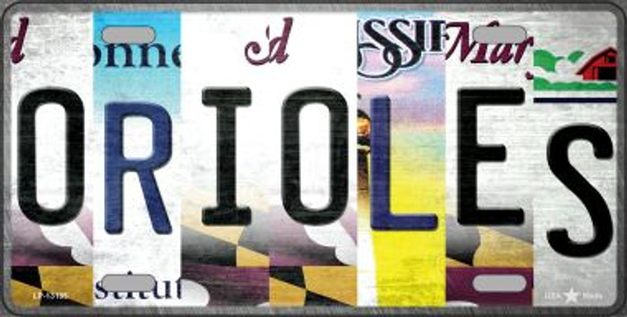 Orioles Strip Art Novelty Metal License Plate Tag LP-13185