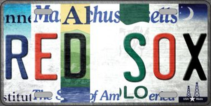 Red Sox Strip Art Novelty Metal License Plate Tag LP-13186
