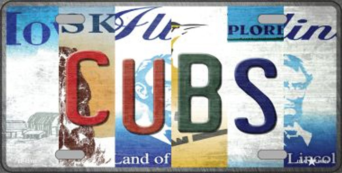 Cubs Strip Art Novelty Metal License Plate Tag LP-13187