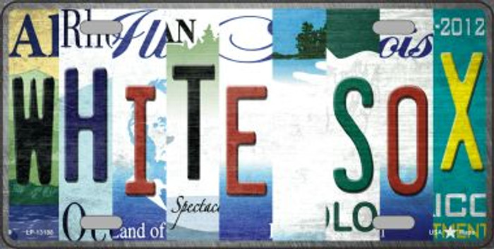 White Sox Strip Art Novelty Metal License Plate Tag LP-13188
