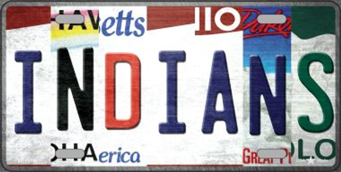 Indians Strip Art Novelty Metal License Plate Tag LP-13190