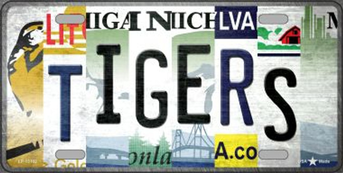 Tigers Strip Art Novelty Metal License Plate Tag LP-13192