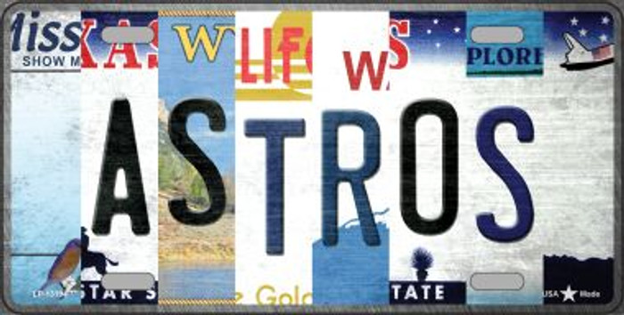 Astros Strip Art Novelty Metal License Plate Tag LP-13194