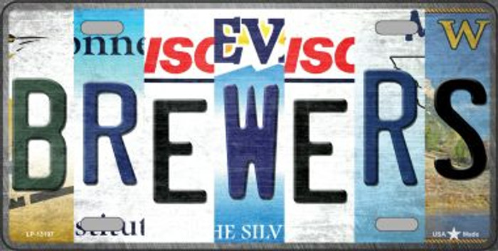 Brewers Strip Art Novelty Metal License Plate Tag LP-13197