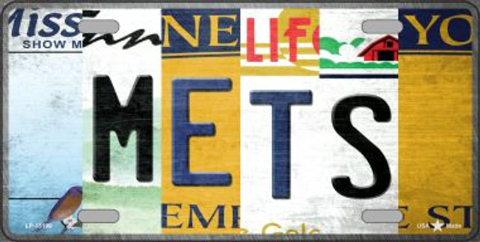 Mets Strip Art Novelty Metal License Plate Tag LP-13199