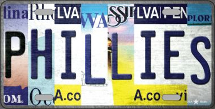 Phillies Strip Art Novelty Metal License Plate Tag LP-13202