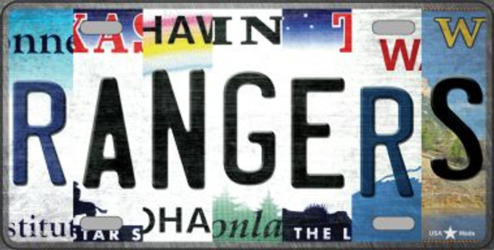 Rangers Strip Art Novelty Metal License Plate Tag LP-13207