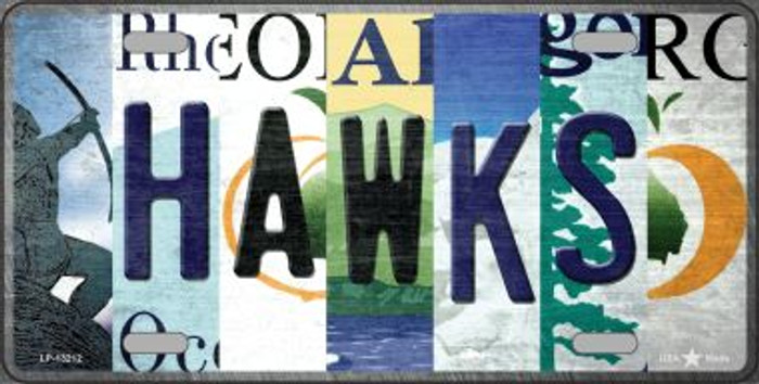 Hawks Strip Art Novelty Metal License Plate Tag LP-13212