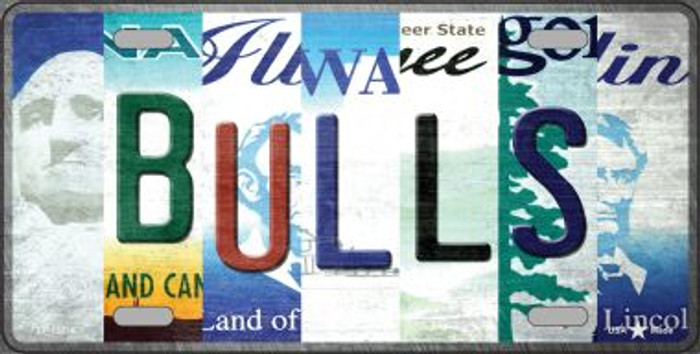 Bulls Strip Art Novelty Metal License Plate Tag LP-13214