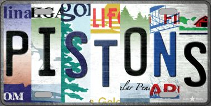 Pistons Strip Art Novelty Metal License Plate Tag LP-13219