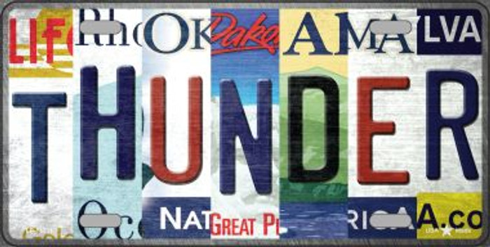 Thunder Strip Art Novelty Metal License Plate Tag LP-13231