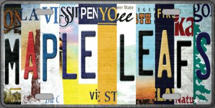 Maple Leafs Strip Art Novelty Metal License Plate Tag LP-13253