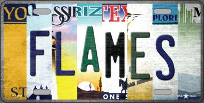 Flames Strip Art Novelty Metal License Plate Tag LP-13257