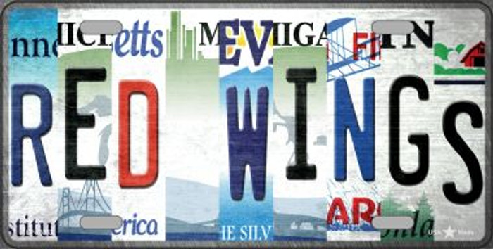 Red Wings Strip Art Novelty Metal License Plate Tag LP-13262
