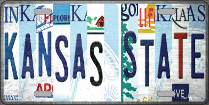 Kansas State Strip Art Novelty Metal License Plate Tag LP-13281
