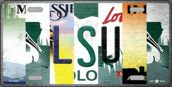 LSU Strip Art Novelty Metal License Plate Tag LP-13284