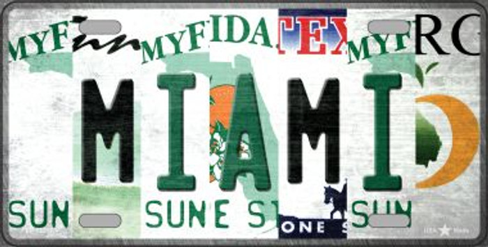 Miami Strip Art Novelty Metal License Plate Tag LP-13287
