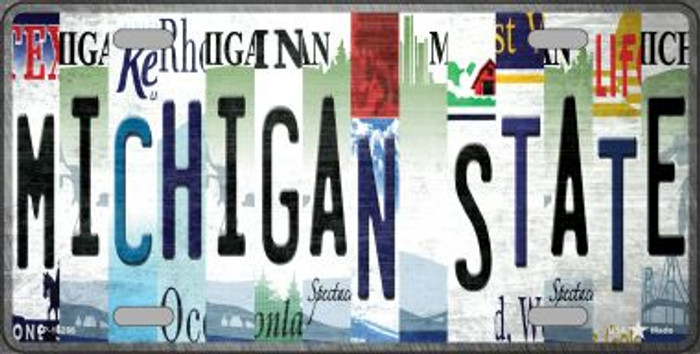 Michigan State Strip Art Novelty Metal License Plate Tag LP-13288