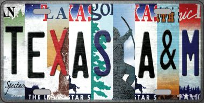 Texas A&M Strip Art Novelty Metal License Plate Tag LP-13299